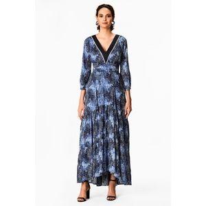 eShakti Wayward Fancies Ruched Tier Graphic Dress